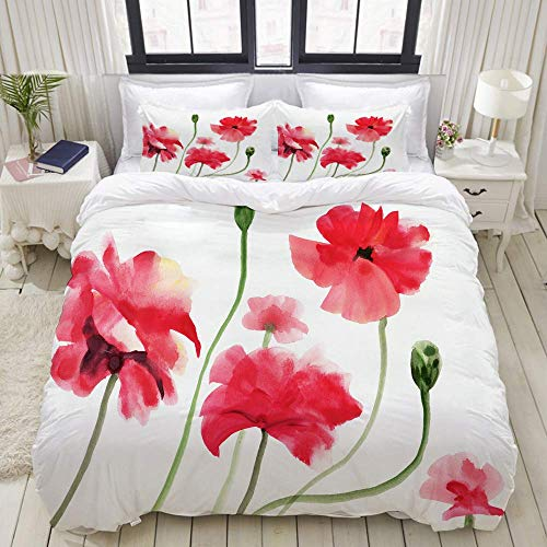 Nonun Duvet Cover,Original Art, Watercolor Painting of red Poppies,Bedding Set Ultra Comfy Lightweight Luxury Polyster Quilt Cover Sets (3pcs)