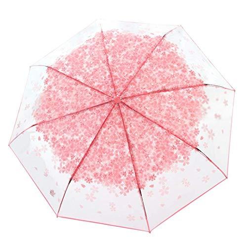 Transparent Regenschirm Groß Taschenschirm Blumen Kreativer Reiseschirm für Auto Tragbarer Schirm für Kinder Damen Frauen Studenten Leicht Durchsichtig Windfest Durchmesser 96cm