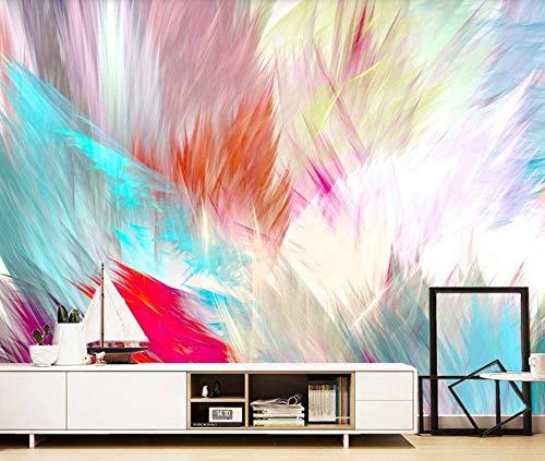 Papel Pintado Pared 3D Pluma Acuarela Azul Roja Abstracta Moderno Dormitorio Salon Decoracion murales