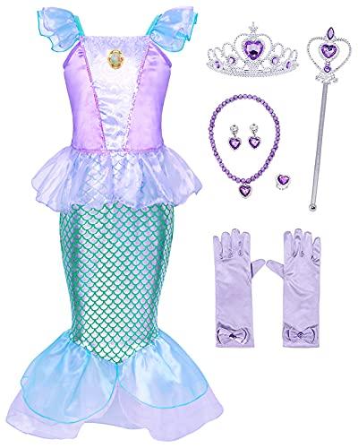 Hamanasu Fille Ariel Sirène Robe de Princesse Costume Déguisement Anniversaire Noël Halloween Partie Carnaval Cosplay Habillée Enfants Robes(Violet01,6-7Ans/140)