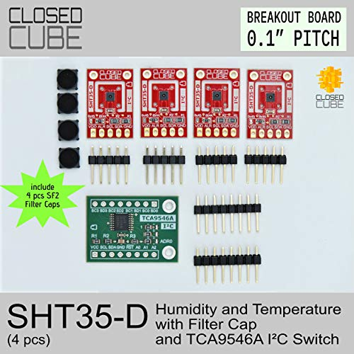 ClosedCube SHT35-D Humidity (+/-1.5% RH) & Temperature (+/-0.1°C) Sensor with SF2 Filter Cap (4 pcs) and TCA9546A I2C Switch Breakout Boards Bundle