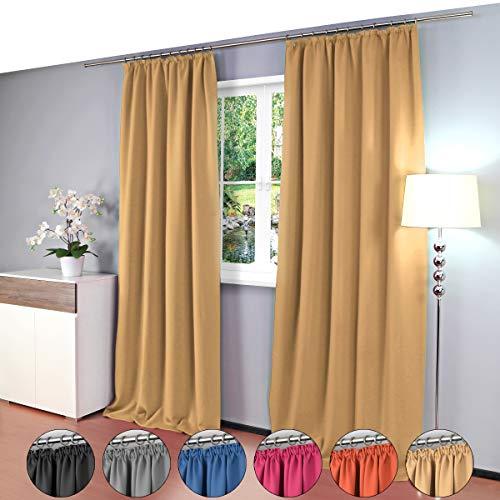 Gräfenstayn® Alana - cortina térmica opaca de un solo color Cortina de oscurecimiento con cinta de cortina universal - 135 x 245 cm - muchos colores atractivos (Beige)