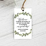 Welcome Favor Tags, Greenery Wedding Tags,...
