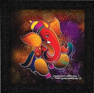 SAF Ganesha UV Coated Home Decorative Gift Item Framed Painting 12 inch X 12 inch SANFO97