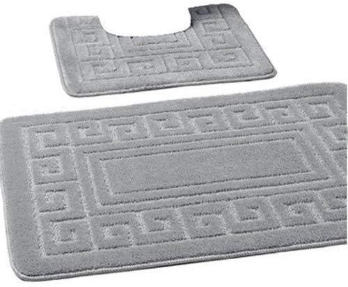 EDS Silber Badematten Set 2-teiliges, Badegarnitur, WC Vorleger, Badvorleger, Badeteppich, antirutsch beschichtet, extra stark saugfähig,