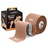 OK TAPE Kinesiology Tape (20 Strips Precut) - Latex Free, Waterproof Athletic Tape Sports for Pain Relief, Supports and Stabilizes Knee&Muscles&Joints | 2inch x 16.4 feet Roll, Beige