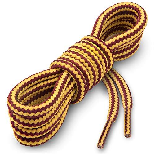 Miscly – Schnürsenkel Rund, Extrem Reißfest [3 Paar] für Arbeitsschuhe, Stiefel und Wanderstiefel - Nylon und Polyester - Ø 5 mm (160 cm, Gelb/Braun)