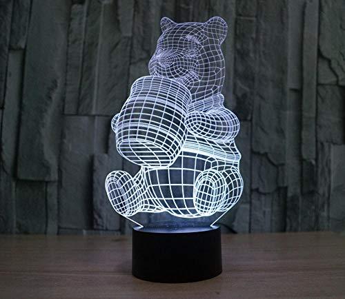 3D Lampe Winnie l'ourson Led Veilleuses 7 Couleurs Changeantes Avec Télécommande USB Alimenté Table Lampes pour Enfants Noël Cadeau