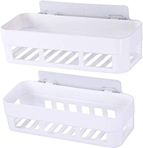 Laigoo 2 Pack Adhesive Bathroom Shelves Organizer Shower Caddy, Strong Plastic No Drilling Wall Shower Shelves Floating Shelf Vanity Organizer Basket(White)