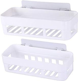 Laigoo 2 Pack Adhesive Bathroom Shelves Organizer Shower Caddy, Strong Plastic No Drilling Wall Shower Shelves Floating Sh...