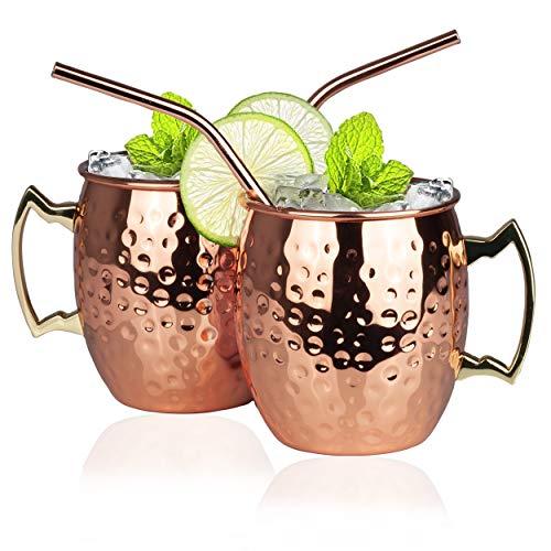 Moscow Mule Bekers met RVS Rietjes - Set van 2 Stuks - Verkoperde Cocktail Glazen - Koperen RVS Mok Gehamerd - Copper Mug - 500 ML