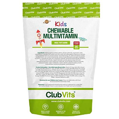 Children's Multivitamin Chewable Raspberry Sunshine Tablets | 90 Sugar Free Tablets | Allergen Friendly | Great Tasting | by Club Vits Kids