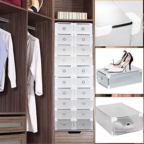 Shioucy - 20 cajas para zapatos - Apilables - Cajas transparentes de plástico resistente para zapatos de hombres y mujeres - Medidas 31 x 20 x 11 cm - Cajas organizadoras apilables