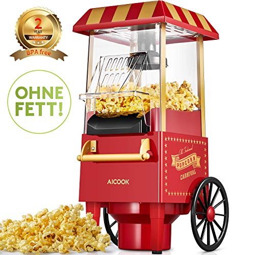 Aicook Machine à Pop Corn, 1200W Retro Machine à Popcorn avec Air Chaud, Sans Gras Huile, Facile á...
