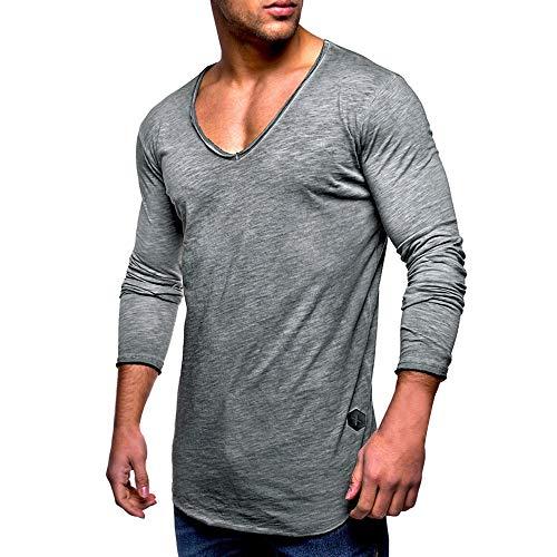 MRULIC Herren Longsleeve Rundhals Sweatshirt Slim Fit Lang Ärmel Muskel Fitness Baumwolle Casual Tops Shirts RH-011(Grau,EU-44/CN-M)