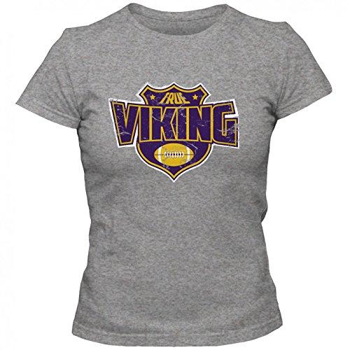 True Viking Premium T-Shirt American FootballShirt Super Bowl NFL Frauen Shirt, Farbe:Graumeliert (Grey Melange L191);Größe:S