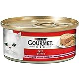 Purina Gourmet Rosso Umido Gatto Paté con Pezzetti con Fegato, Vitello e Verdure, 24 Lattine da 195 g, Confezione da 24 x 195 g