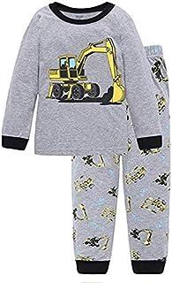 Little Hand Excavator Toddler Boys Long Sleeve Pajamas 100 percent Cotton Pjs Sleepwears
