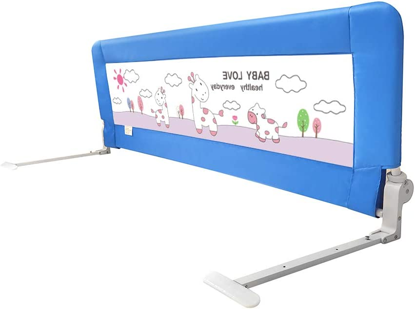 JUDI Toddler Bed Rail Guard for Safety - Foldable Stainless-Steel Frame with Cute Image Printed on Breathable Mesh - Easy to Install Suitable for Most Bed Sizes - 24.8x13.8 Inches (Blue)