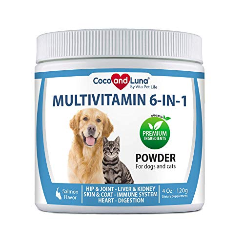 Multivitamin for Dogs and Cats - Glucosamine for Dogs, Milk Thistle for Dogs, Omega 3, Probiotics and Enzymes, Skin and Coat, Immune Support + Vitamins – Powder 4oz (120g)
