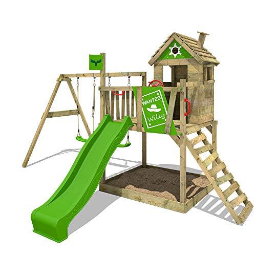 FATMOOSE Spielturm Klettergerüst RockyRanch Roll XXL mit Doppel-Schaukel & apfelgrüner Rutsche, Stelzenhaus mit großem Sandkasten