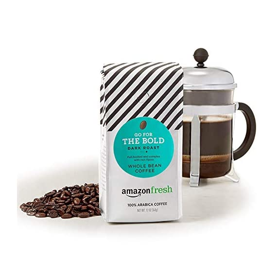 AmazonFresh Dark Roast Whole Bean Coffee, 12 Ounce (Pack of 3) 7 Dark roast coffee with mild finish Three 12-ounce bags of whole bean coffee 100% Arabica coffee grown in Central and South America