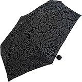 Pierre Cardin Damen Mini Regenschirm Taschenschirm 'Black Illumination' mit Samt Arabesken