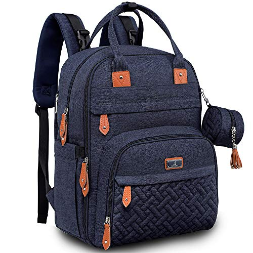 Diaper Bag Backpack, BabbleRoo Baby Nappy Changing Bags Multifunction Waterproof Travel Back Pack with Changing Pad & Stroller Straps & Pacifier Case, Unisex and Stylish (Navy Blue)