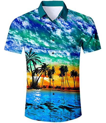 TUONROAD Camicia Hawaiana Uomo Funky Fantasia Hawaii Palma 3D Stampa Blu Camicia Slim Fit Manica Corta Camicia da Spiaggia Bottone Estivo Casual Shirt - M