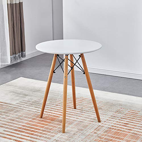 Ansley&HosHo-EU White Round Table for Home Office, Modern Wooden Dining Table for Small Spaces, Dinette Table Kitchen Table with Wood Legs, 60cm