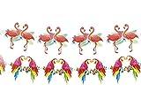 Alsino Hawaii Party Girlande Wimpelkette Wimpelgirlande Flamino Papagei, wählen:Flamingo Girlande 52532