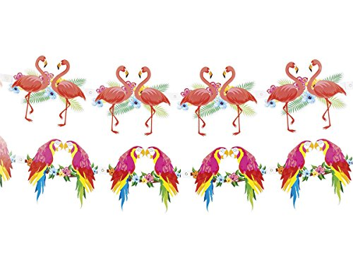 Alsino Hawaii Party Girlande Wimpelkette Wimpelgirlande Flamino Papagei, wählen:Flamingo Girlande 52532