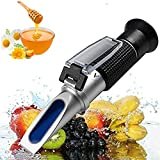 Honey Refractometer for Honey Moisture, Brix and Baume, 58-90% Brix Scale Range Honey Moisture Tester, 3-in-1 Uses,with ATC, Ideal for Honey, Maple Syrup, and Molasses, Bee Keeping Supplies