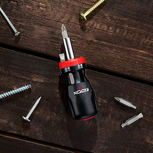 NoCry Stubby Ratcheting Screwdriver Kit with 12-in-1 Mini Bit Set including Flathead, Hex, Torx and Pozidriv Tips