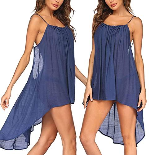 Traje de baño de verano para mujer, de malla sólida, traje de baño de playa, traje de baño irregular en el cuello del bikini., azul, XXL