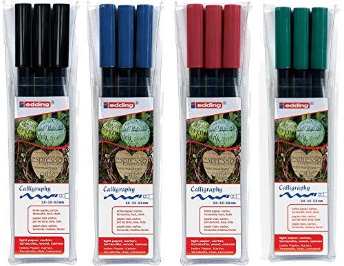 edding 1255 Kalligrafie-Stift - Farbe: schwarz 3x - Ideal für Kalligraphie und Lettering auf nahezu allen Oberflächen - Made in Germany (4 Farben)