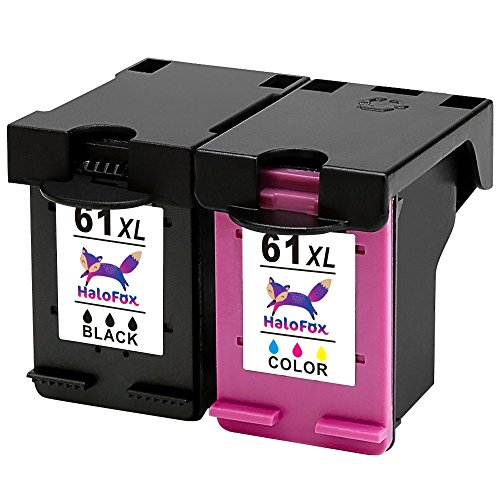 HaloFox Remanufactured Ink Cartridges Replacement For 61 61XL Use In Deskjet 1000 1010 1050 1510 1512 2540 2542 2050 3000 3050 3510 Envy 4500 4501 4502 5530 Officejet 4630 4632 4635 (1B+1C)