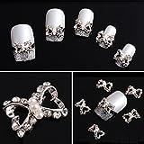 10pcs 3D Alloy Rhinestones Faux Pearl Bow Tie Nail Art