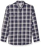 Amazon Essentials Men's Regular-Fit Long-Sleeve Twill Shirt, Blue Heather Plaid, X-Large