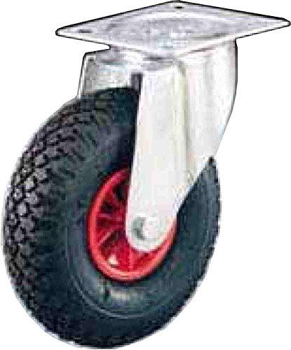 Rueda neumática suave que no perfora 260 mm Capacidad 100 kg Disco plástico Cobertura de mezcla de baja densidad imperforable con Supp giratorio Ruedas para carros de translación manual para cargas medianas