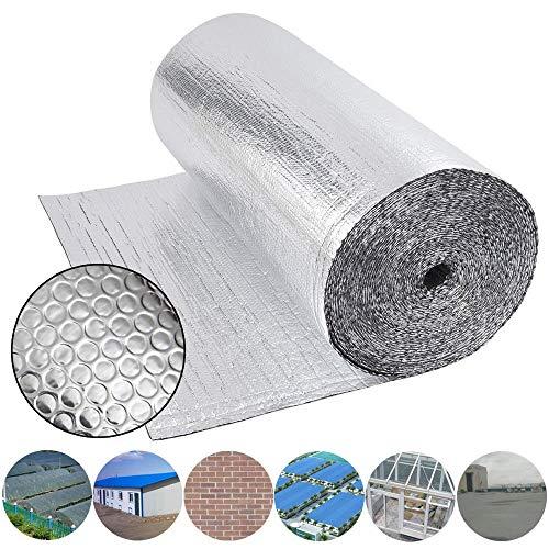 Dripex Isolierfolie Dämmfolie Doppelte Aluminium Folien-Blase Dachisolierung 3-4mm Isolierungsfolie Wärmehaltung (1.0x20m - 20㎡)