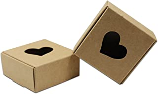 20Pcs Brown Kraft Paper Recyclable Box with Heart-Shaped Window Gift Craft Candy Chocolate Paper Packaging Boxes (5.5x5.5x2.5cm (2.2x2.2x1 inch))