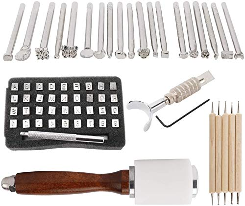 Zuoyou 20pcs Leather Working Saddle Making Stamps Tools Set for Leathercraft Carving DIY Handmade Art