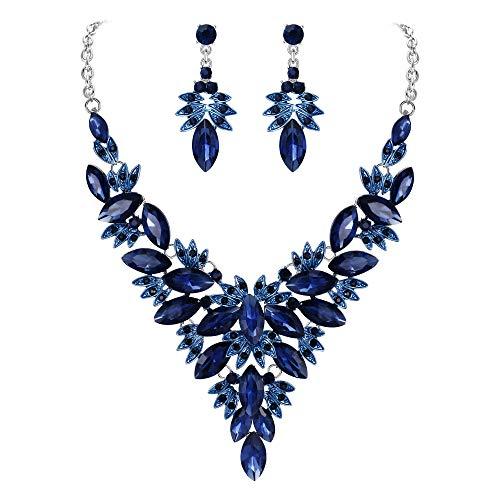 Clearine Juegos de Joyas de Mujer Cristal Lágrimas Forma Hoja Flor Encaje Collar y Pendientes para Novia Boda Fiesta Azul