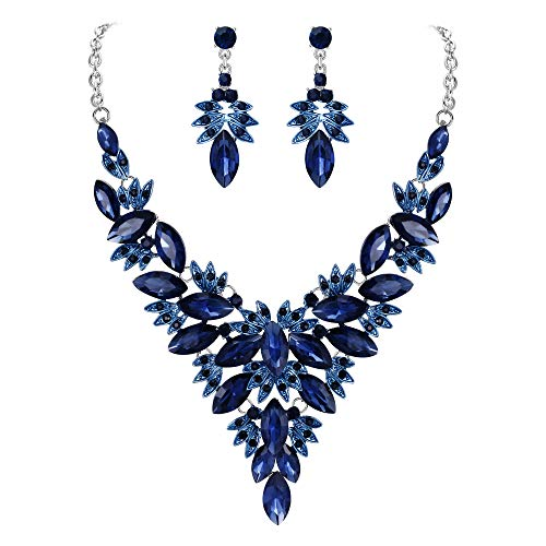 Clearine Women's Costume Fashion Crystal Multi Leaf Marquise Cluster Enamel Statement Necklace Dangle Earrings Set Navy Blue Sapphire Color Silver-Tone
