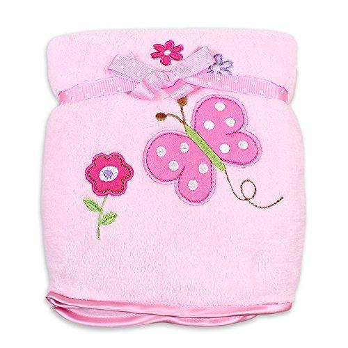 Spasilk Baby Girls' Newborn Extra Thick Plush Blanket with Satin Trim, Pink Butterfly, One Size