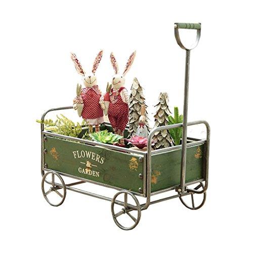 Everyday Home Chariot De Personnalité De Style Rétro Industriel Américain Ornements Décoratifs Fleur De Jardin Stand (Couleur : Green)