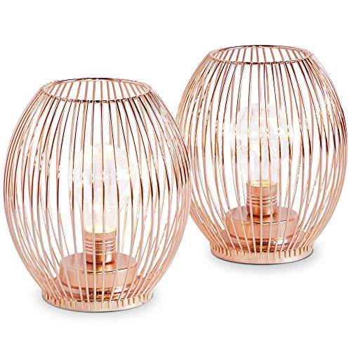 Beautify 2-er Set Laternen/Lampen in Roségold – Batteriebetrieben – Dekorativ – Geschenkidee – Für Wohnzimmer/Flur/Schlafzimmer/Nachttisch