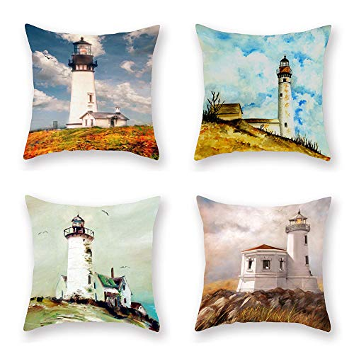 ShareJ 4 Pack Decorative Pillow Cover Waiting Lighthouse Throw Pillow Cases Home Decor Indoor Gift Kitchen Garden Sofa Bedroom Car Living Room 18'X18' Super Soft Pillowcase