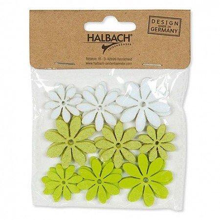 Halbach Efco Fleurs en feutre, assorties, ø 25/30/35 mm, 18 Pcs, Vert Mix